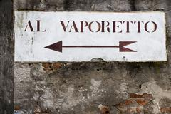 Vaporetto info sign, venetian transport, Italy Stock Photos