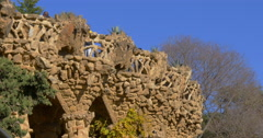 Stock Video Footage of park guell sun light gaudi tourist balcony 4k spain