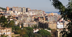 Barcelona sunny day hill city panorama 4k spain Stock Footage