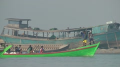 Boats crossing,Bhamo,Burma Stock Footage