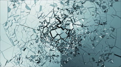 Slow Motion Animation of Broken Glass isolated on black background with Alpha - stock footage