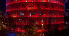 Agbar tower night light view barcelona city 4k spain Stock Footage
