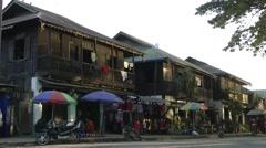 Riverfront houses and shops,Bhamo,Burma Stock Footage