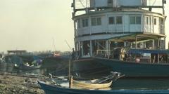 Unloading the Cargo Ferry,Bhamo,Burma Stock Footage