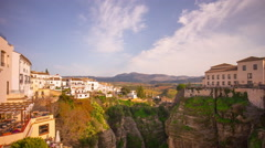Sunny day ronda famous bridge panorama 4k time lapse spain Stock Footage