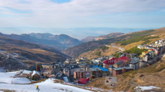 spain mountain ski resort sierra nevada high panorama 4k time lapse - stock footage