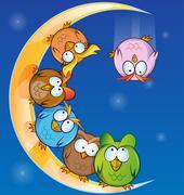 owl group cartoon on moon - stock illustration