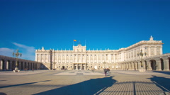 sun light royal palace of madrid panorama 4k time lapse spain - stock footage