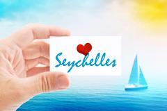 Summer Vacation on Seychelles Beach - stock photo
