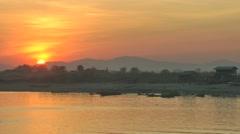 Sunset at the river,Bhamo,Burma Stock Footage