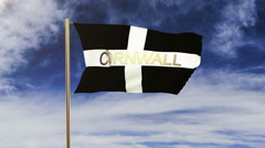 Cornwall flag with title waving in the wind. Looping sun rises style.  Animation Stock Footage