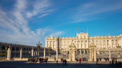 Madrid sun light royal palace tourist craowded view 4k time lapse spain Stock Footage
