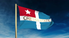 Cretan State flag slider style with title. Waving in the wind with cloud Stock Footage