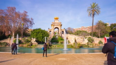 Spain barcelona day light ciutadella park fountain4k time lapse Stock Footage