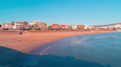 Spain medetirranean sea panoramic view on sitges town 4k time lapse Stock Footage