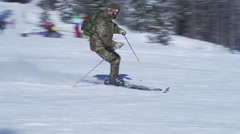 Skier turns spectacular skiing in slow motion Stock Footage