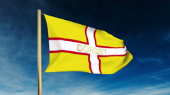 Dorset flag slider style with title. Waving in the wind with cloud background Stock Footage