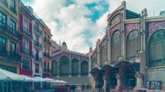 spain valencia day light market building 4k time lapse - stock footage