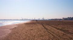 Spain valencia sun light beach port view 4k time lapse Stock Footage