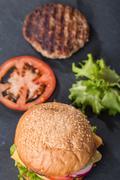 Closeup of classic burger Stock Photos