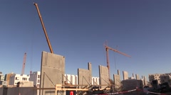 Concrete tilt-up building elements at construction site Stock Footage