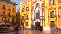 Spain sun light malaga city cathedral square 4k time lapse Stock Footage