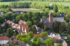 High angle view of little village - stock photo