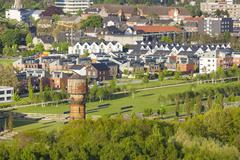 Village and former coal mine area - stock photo