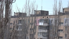 Terrible high-rise buildings with balconies and antennas in poor condition 4k - stock footage
