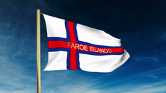 Faroe Islands flag slider style with title. Waving in the wind with cloud Stock Footage