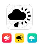 Cloudy with rain weather icon Stock Illustration