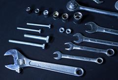 Mechanical tool kit - stock photo