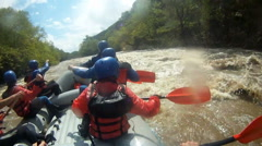 River Rafting as extreme and fun sport Stock Footage
