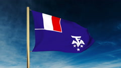 French Southern And Antarctic Lands flag slider style. Waving in the win with Stock Footage