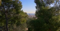 Sun light barcelona park guell agbar tower sea panorama 4k spain Stock Footage
