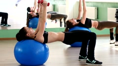 Fitness sport class with thin slim young girls training Stock Footage