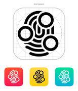 Fingerprint whorl type scan icon - stock illustration