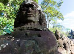 Angkor thom, detail - stock photo