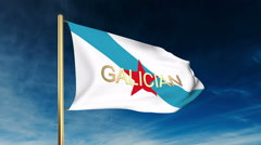 Galician Nationalist Youth flag slider style with title. Waving in the wind with - stock footage