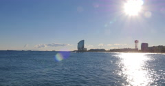 Sunny day mediterranean sea barcelona hotel panorama 4k spain Stock Footage
