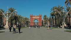 Hyperlapse - Triumphal Arch in Barcelona Stock Footage