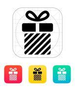 Striped gift box icon Stock Illustration