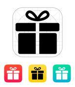 Big gift box icon - stock illustration