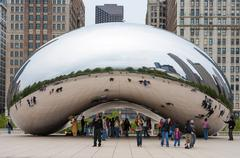 Cloud Gate and Chicago skyline. November 5, 2008 in  Illinois Stock Photos