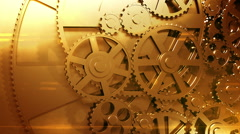 Golden Gears Rotating in Looped Animation. HD 1080. - stock footage