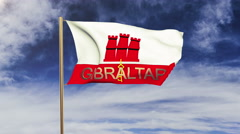 Gibraltar flag with title waving in the wind. Looping sun rises style Stock Footage