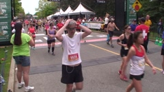 The Tamarack Ottawa Race Weekend marathon race. This is the finish line. - stock footage