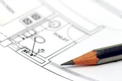 Stock Photo of Building design with pencil