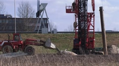 Pouring concrete in box for cast-in-situ application at construction site Stock Footage
