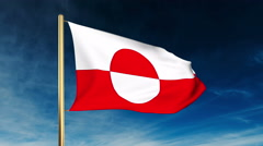 Greenland flag slider style. Waving in the win with cloud background animation Stock Footage